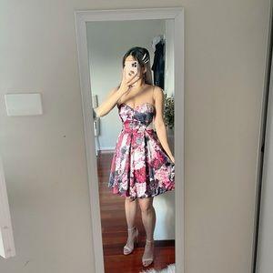 Bardot Floral Ruffle A Line Strapless Mini Dress